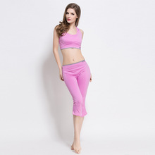 2017 2 Pieces Women Yoga Set Crop Top Shirts + Skinny Legging Capri Pants Sports Sets Gym Running Clothing
