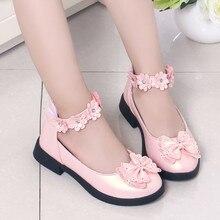 Детская обувь для маленьких девочек с цветочным принтом и бантом; одиночная обувь для принцессы сандалии; детская обувь; zapatillas Nina# XB35