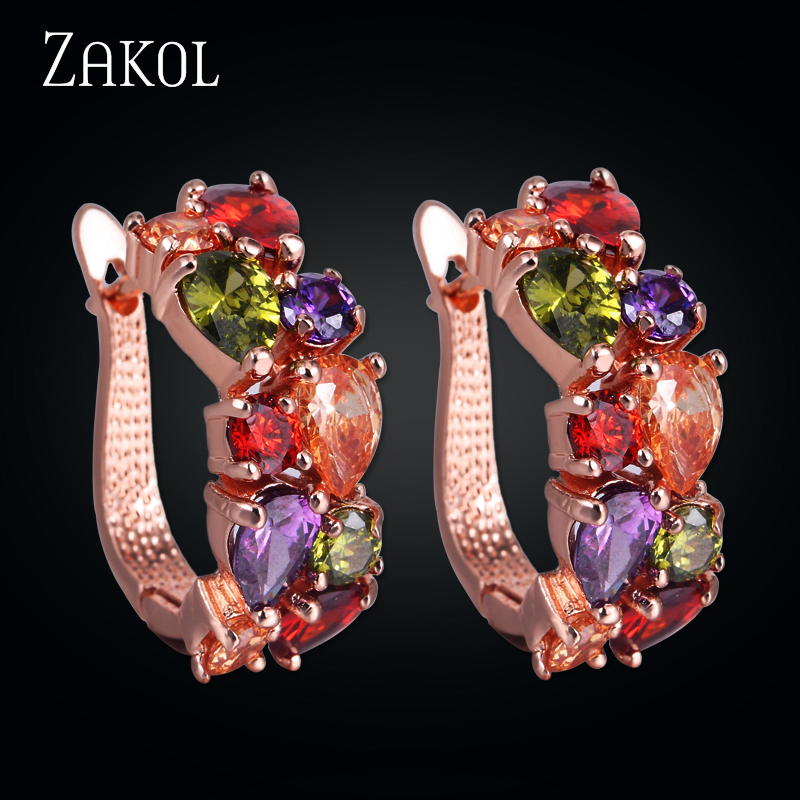ZAKOL Fashion Rose Gold Color Zirconia Stud Earrings Mona Lisa Multicolour Crystal Earring For Women Wedding Jewelry FSEP094
