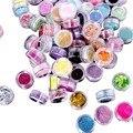 Hot 72 unids/caja Nail Powder Arte Decoración Nieve Brillo de Uñas de Acrílico del Polaco Tool Gel Productos de Cuidado de Uñas