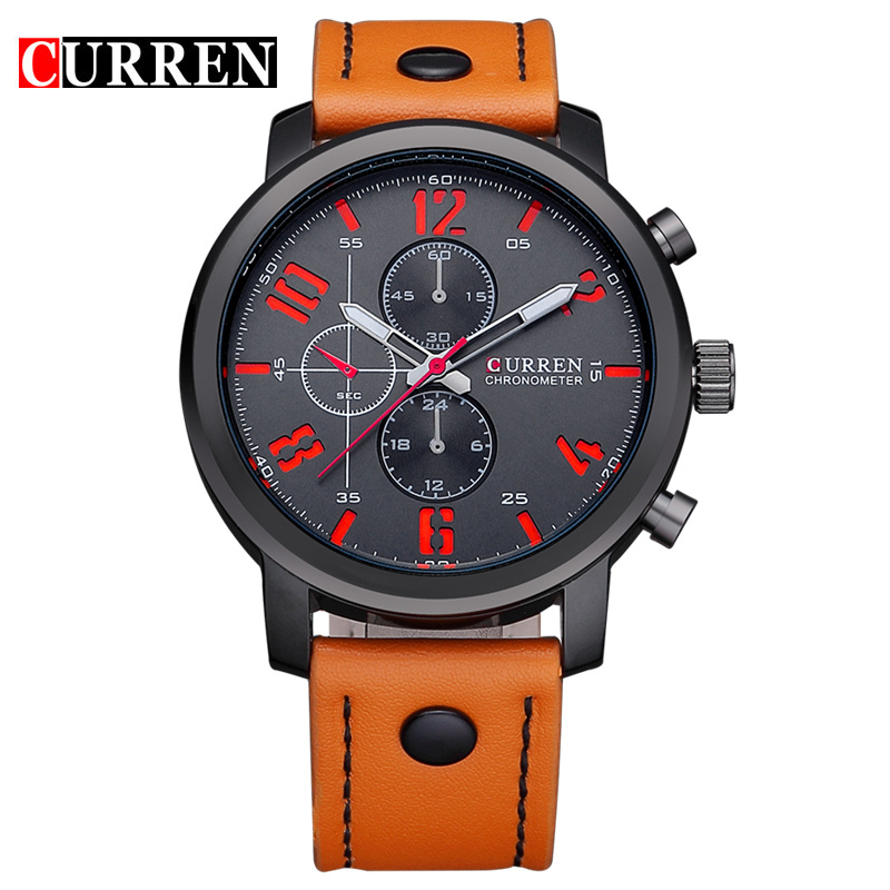 NEW CURREN Casual mens watches top brand luxury Leather Men Military Wrist Watch Men Sports Quartz-Watch Relogio Masculino 8192 new fashion men business quartz watches top brand luxury curren mens wrist watch full steel man square watch male clocks relogio