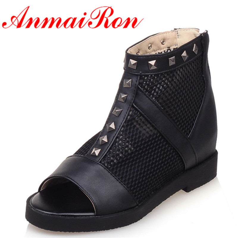ANMAIRON New Women Ankle Boots Fashion Spring and Autumn Boots Shoes Woman 3 Colors White Shoes Peep Toe Cut-outs Women Boots 2016 spring and summer free shipping red new fashion design shoes african women print rt 3
