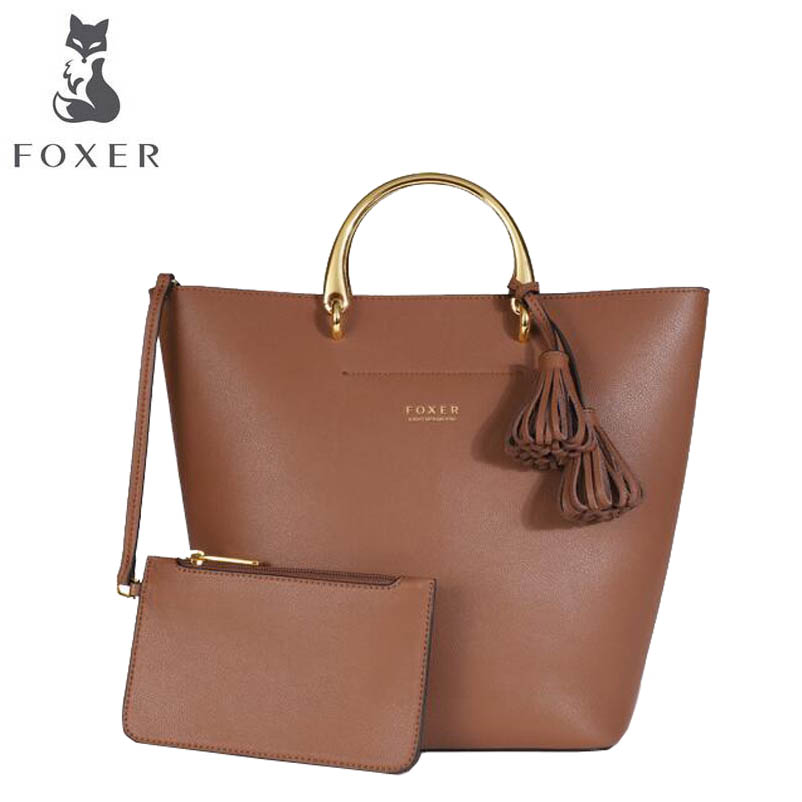 FOXER brand female bag Female handbag 2018 new European and American leather mother bag Wild casual bucket crossbody bag