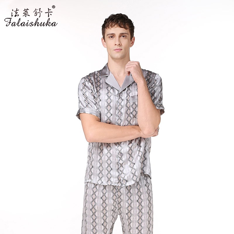 men's silk pajama sets solid color brand new fashion plaid short sleeve silk sleepwears male sleep&lounge pajamas plus size