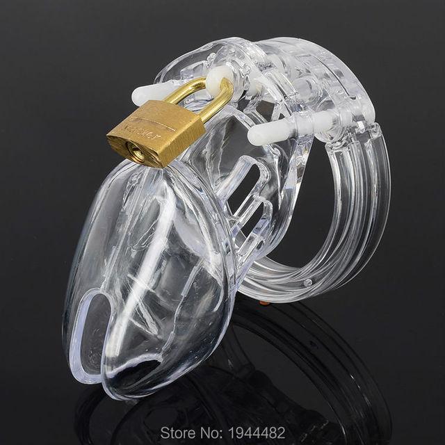 Plástico acrílico transparente macho CB6000S dispositivo de castidad cinturón de castidad jaula del martillo del pene anillo Bondage Sex Toys Dildo bloquear productos del sexo