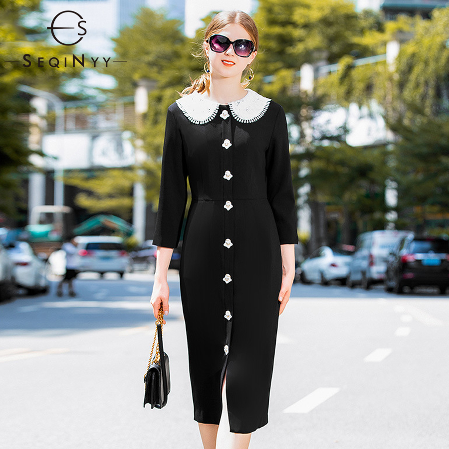 SEQINYY Lace Dresses 2018 Early Autumn Woman New White Angel Button High Street Sheath Split Knee-Length Black Fashion Dresses