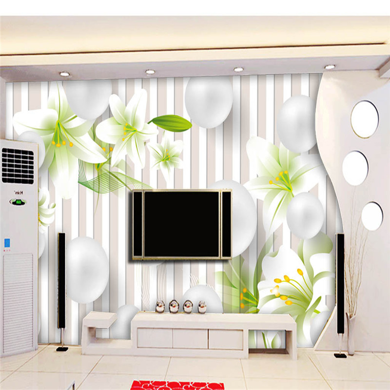 Custom Photo Wallpapers 3D Stereoscopic Nature White Flowers Wallpapers for Living Room Murals Wall Papers Home Decor Green Leaf circle mirror photo wallpapers 3d modern abstract murals wall papers home decor wallpapers for living room wall paste wall mural