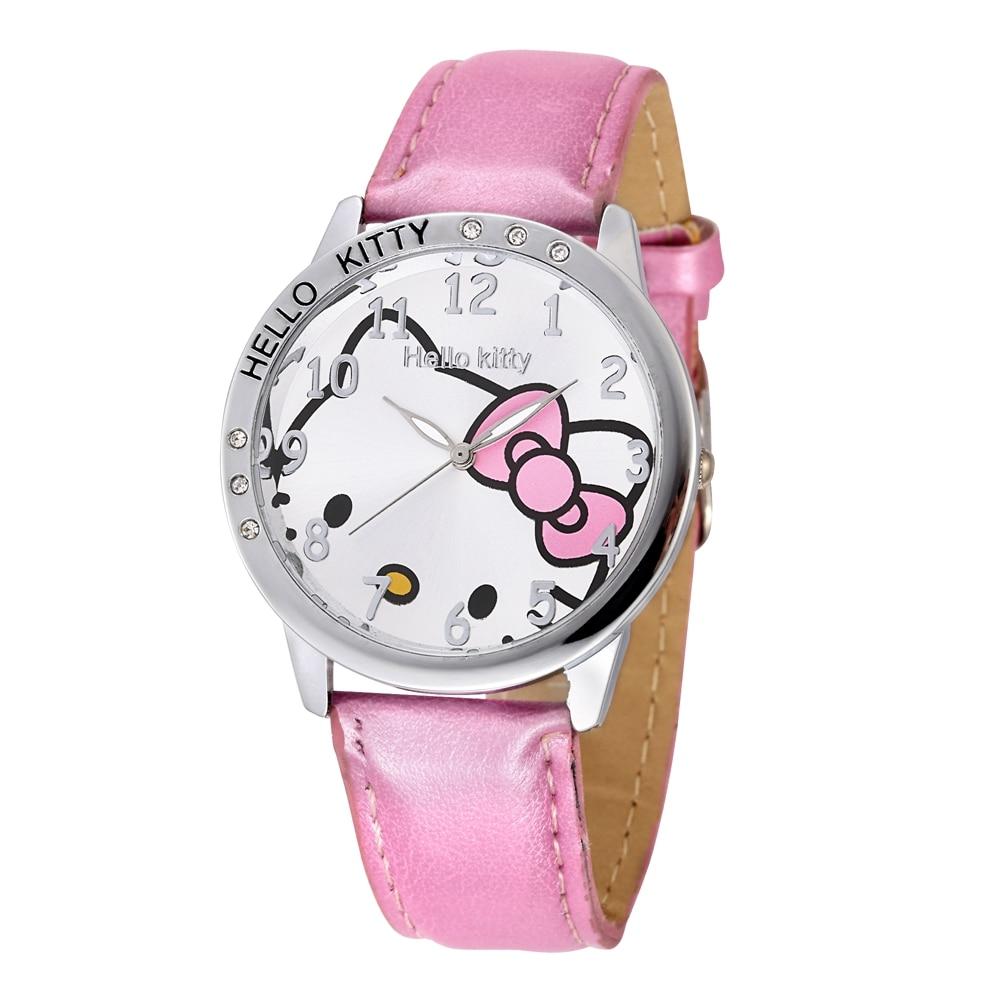 NEW Cute Watch Rhinestone Kid Girls Cartoon Child Watches Fashion Mujer Relojes Quartz Women Crystal Relogio Leather Strap Clock