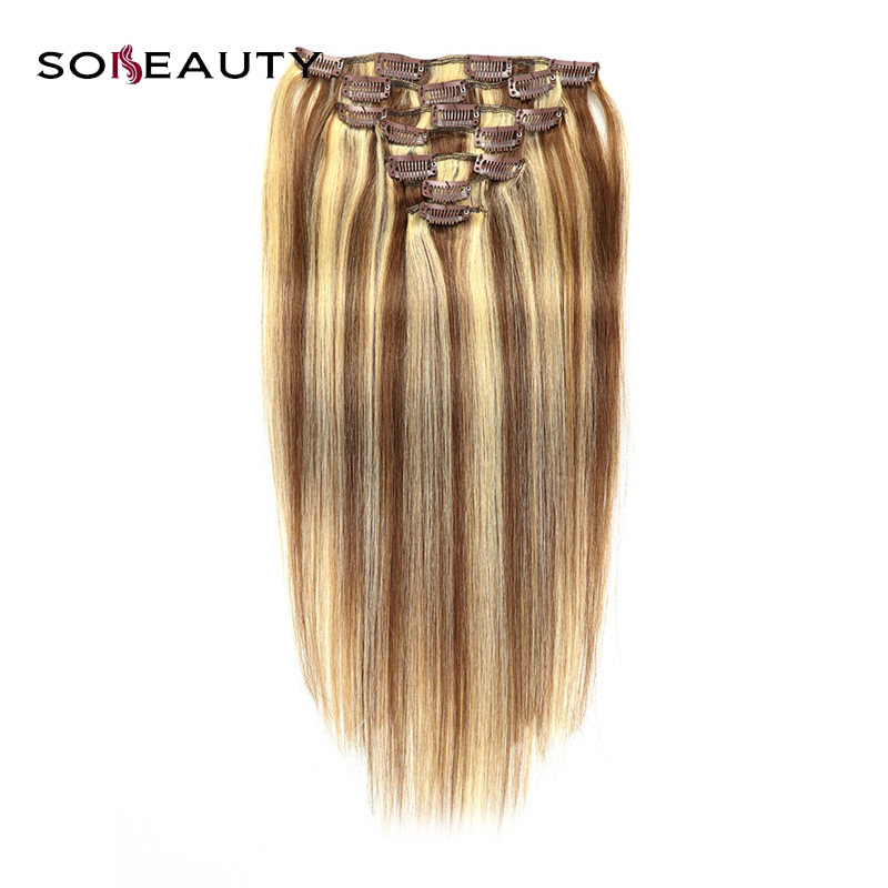 Sobeauty Silky Straight Machine Made Remy Clip Hair Brazilian Human Hair Cuticle Instact P6/613 Piano Color 16''18''20''22''24''(China)