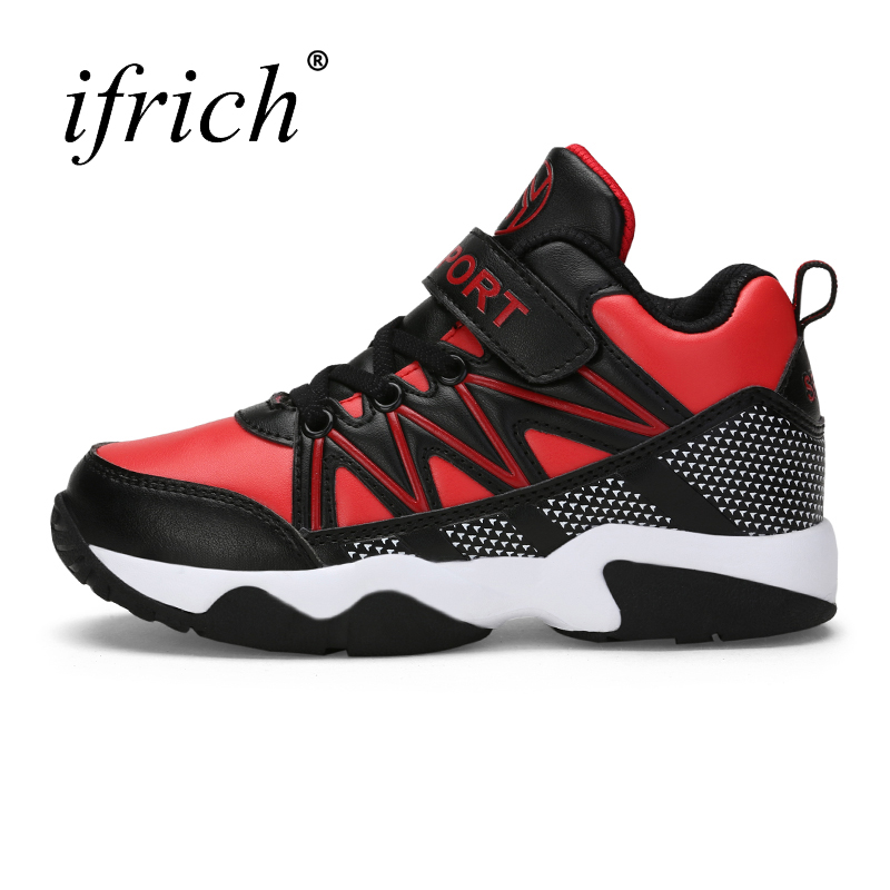Ifrich New Trend Sport Shoes for Children White Red Boys Basketball Shoes Comfortable Teenager Gym Athletic Footwear Cheap