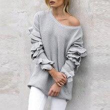 Winter Ruffles Sweater Women Causal Long Sleeve Loose Knitted  Knitwear Jumper Pullover Tops