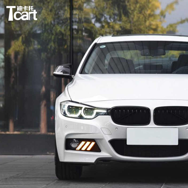 Tcart 2pcs 2018 2019 Daytime Running Lights Led Drl Fog Lamp Driving Lights With Yellow Turn Signal For Bmw F30 3 Series