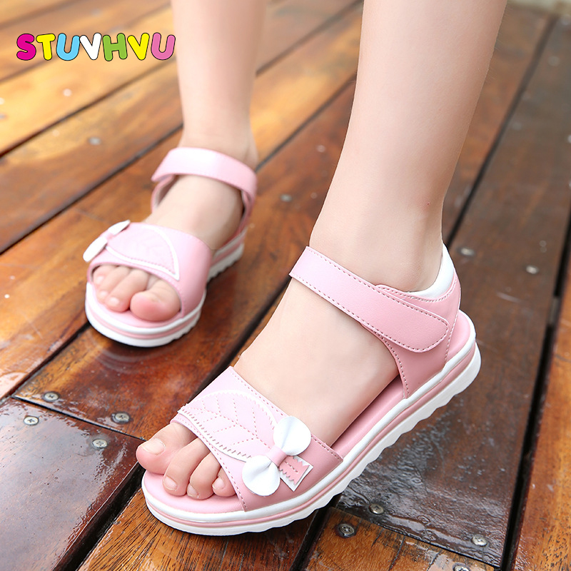 Summer Kids Beach Sandals For Girls  2019 Cute Princess Leaves Bow Shoes Students Soft Bottom Pink And White Size 27-36