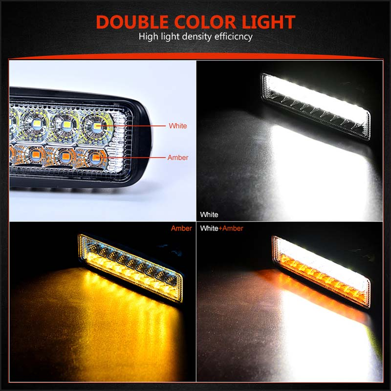 Amber White Led Work Light Bar