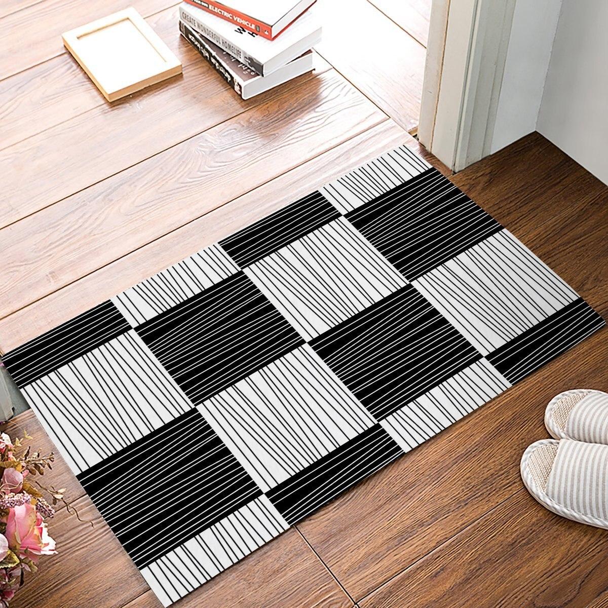 Moderno Geometrico Decorativo Banda in Bianco E Nero Quadrato Porta Tappetini Ingresso Tappeto Tappetino Bagno Interno Cucina Zerbino