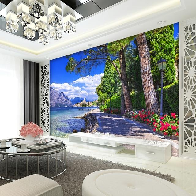 living modern den minimalist sofa tv paradise landscape backdrop lake mural custom background zoom beibehang lakeview wallpapers mouse