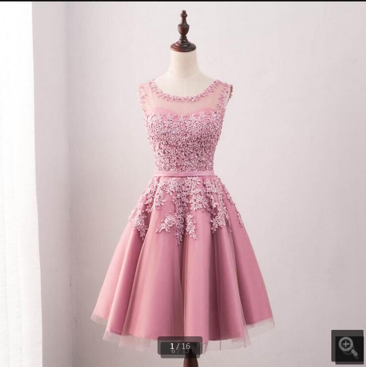 Vestido De Festa pink lace tulle a line short bridesmaid dress prom gowns sheer back sexy knee length bridesmaid gowns