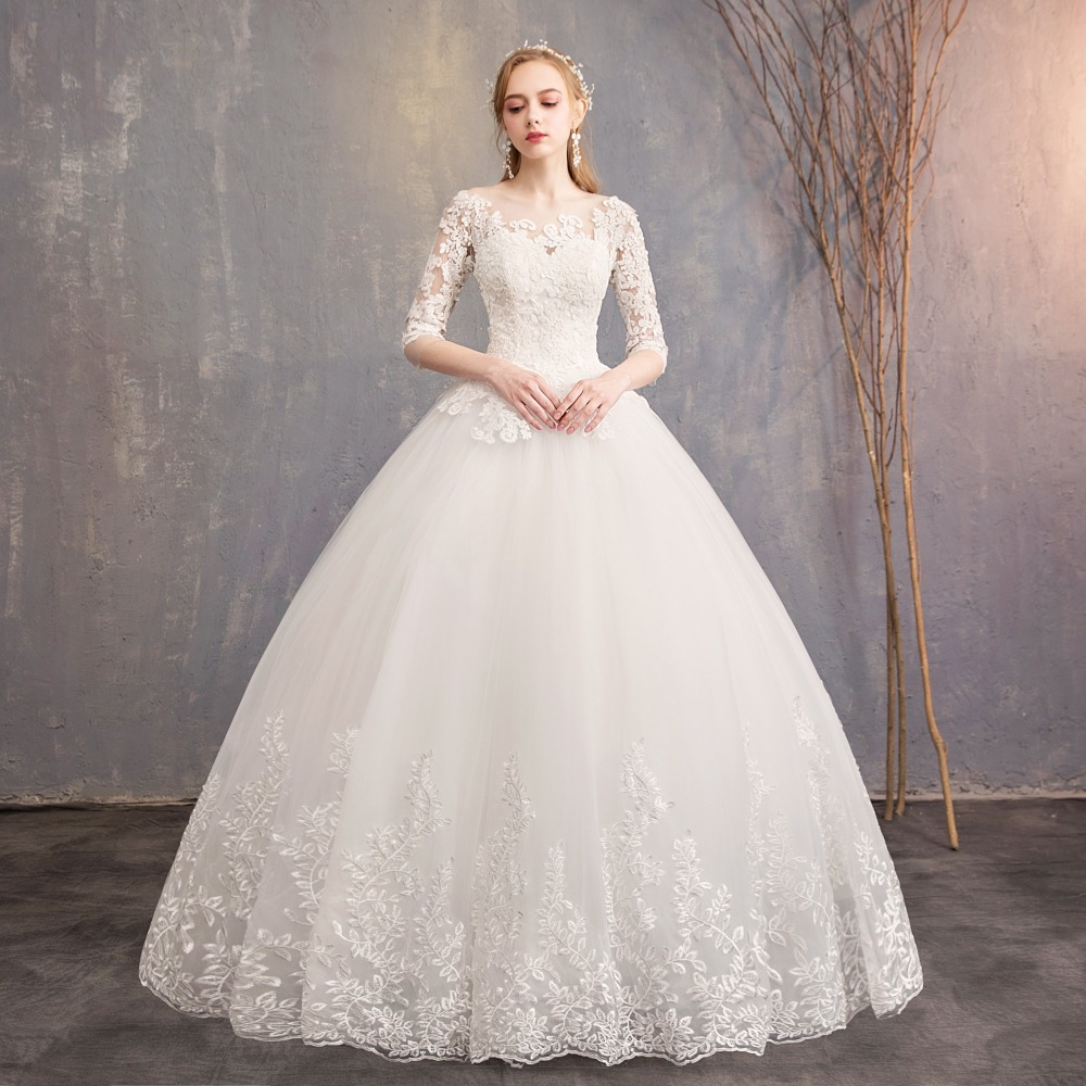 Simple Wedding Dress 2019 Elegent Tulle Ball Gowns Wedding Party Dress Robe De Mariee Vestido De Noiva