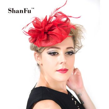 ShanFu Ladies Sinamay Small Hat Fascinators with Feather Floral Church Hat with Headband SFCS12187  6pcs/lot