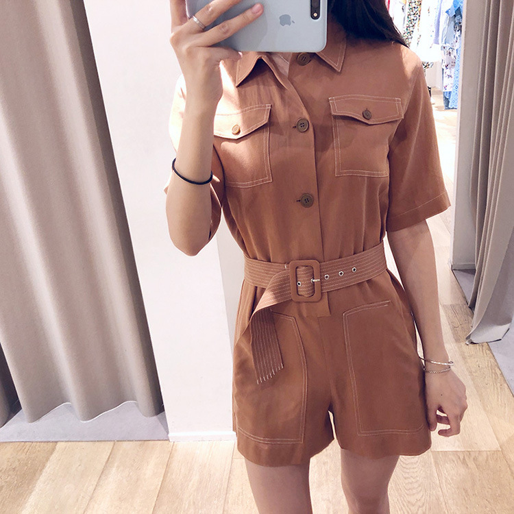Women Jumpsuits 2020 spring and summer new pocket shorts jumpsuit jumpsuit female