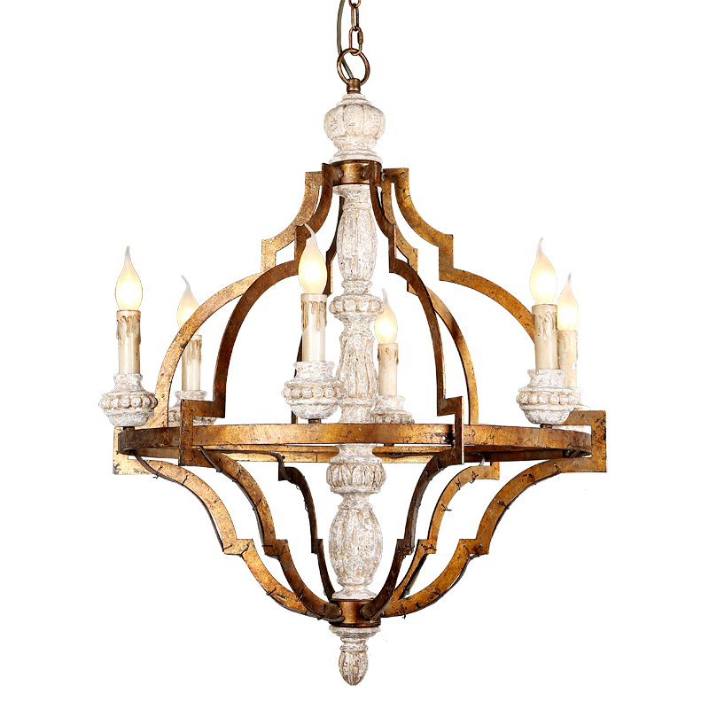 French vintage decorative white wooden chandelier American country antique gold wooden houses poland lighting D67CM e14 6 lights