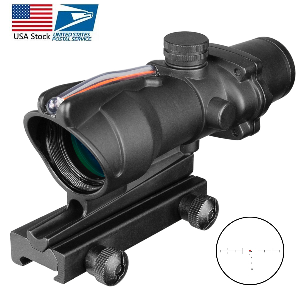 Dropshipping ACOG 4X32 Hunting Riflescope Real Fiber Optics Red Dot Illuminated Chevron Etched Reticle Tactical Optical