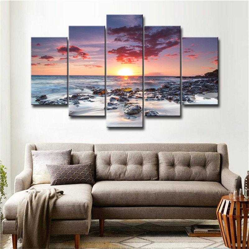 oil printed blue ocean sea picture canvas wall art beach seascape office hone decorative paintings wall decor poster