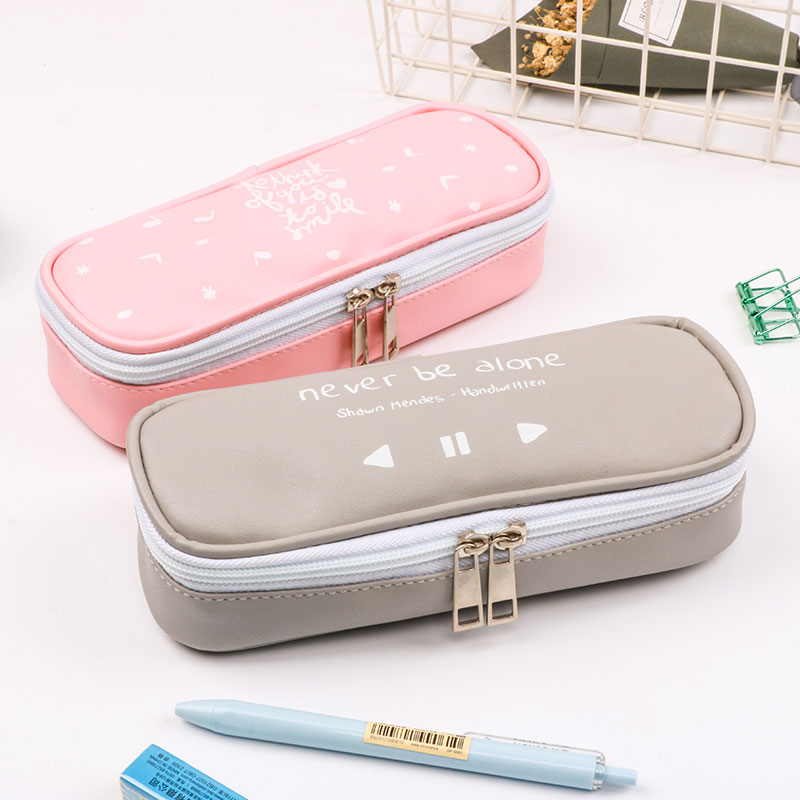 PU Leather Pencil Bag Music Player Box Design Pencil Case Kawaii Korea Stationery Pen Bag School Supplies Large Volume Pen Pouch декоративная прищепка music stationery 84