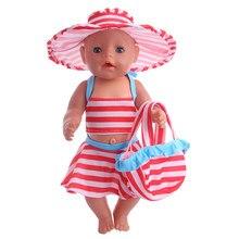 93ea860a3623dc Nieuwe stijl hoge kwaliteit Badpak + Hoed + Tas fit 18 inch Amerikaanse pop 43  cm Nieuwe Baby Geboren-, beste cadeau voor kinder.