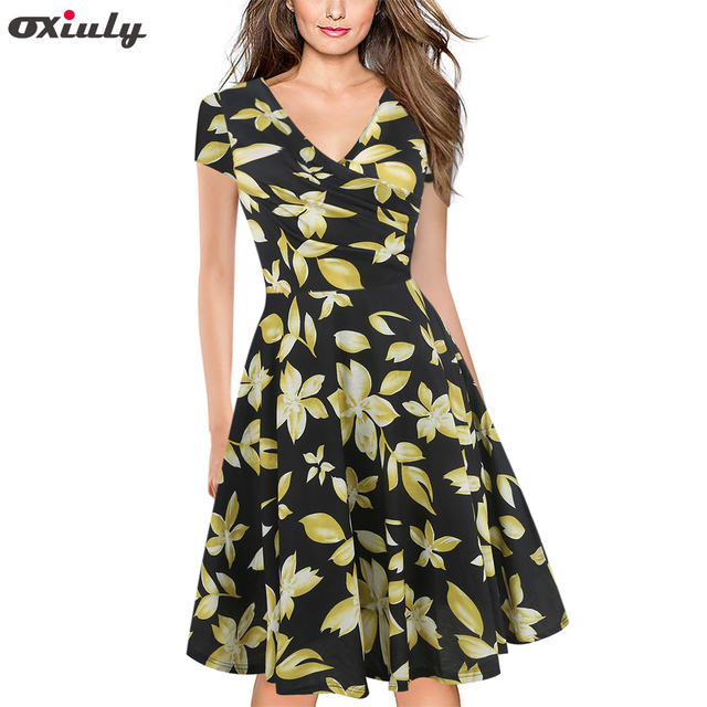 fe85814aebf Oxiuly Rockabilly Dress Summer 50s Retro Vintage Dresses Women Clothing Pin  Up Flower Striped A-Line Dress