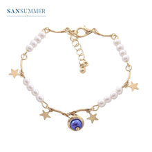 Sansummer New Hot Fashion Pearl Gold Star Beads Boho Blue Ball Length 17.5cm Charm Personality Bracelet Female Jewelry
