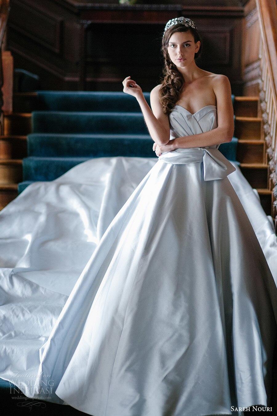 Vestido de novia Trajes de Novia Sin Tirantes de color Azul vestido ...