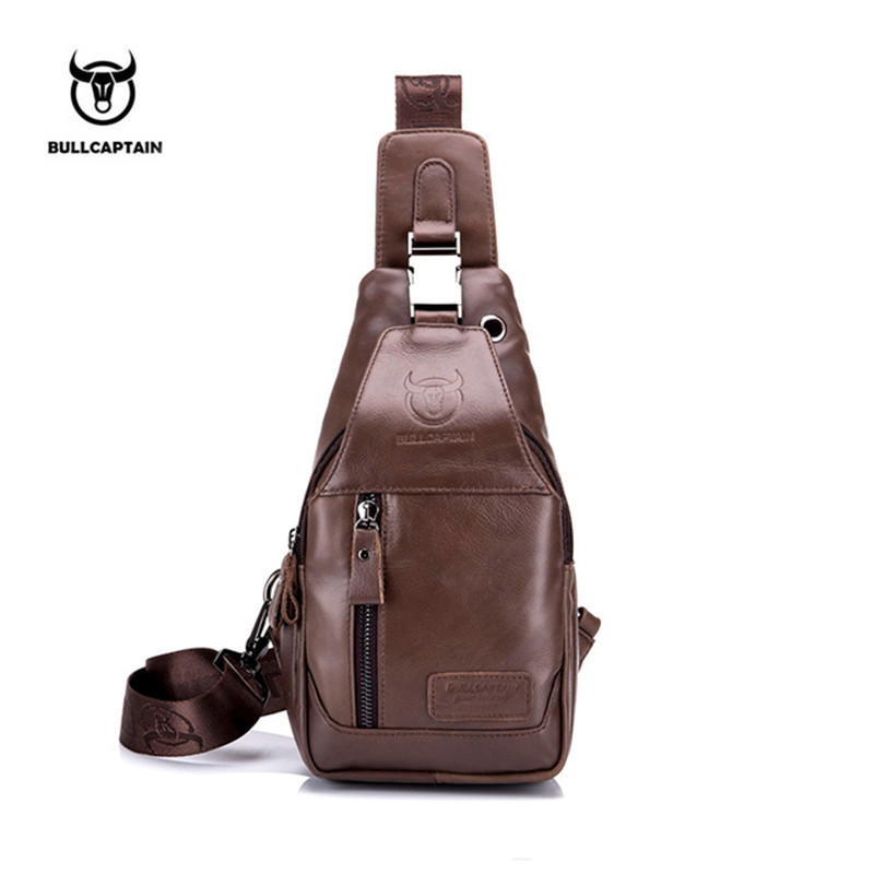 Men Shoulder Bag Small Cell Phone Flap Genuine Leather Bag Strap Sling Men Messenger Bags Leather Chest Pack Mens Chest Bags New casual canvas satchel men sling bag