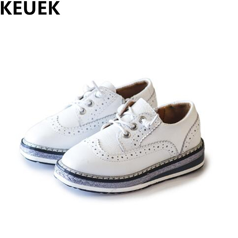 New Fashion Genuine Leather Children Brogue Shoes Boys Girls Flat Casual Shoes Student Black White Kids Shoes Baby Toddler 019 new hot sale children shoes pu leather comfortable breathable running shoes kids led luminous sneakers girls white black pink