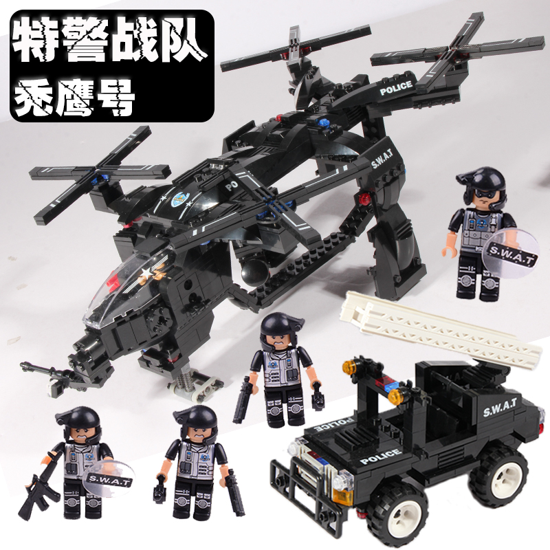 ФОТО WOMA C0536 Educational DIY Bricks Toys Building Blocks Sets SWAT helicopter car 784 pieces