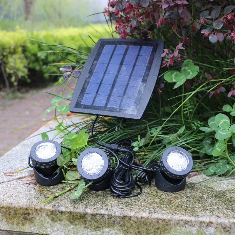Outdoor LED solar floodlight 3 heads solar energy underwater projection lamp split type indoor lighting lamp garden lamp 3 7v 1000mah 22 led remote control solar lamp hooking camp garden lighting outdoor indoor m25