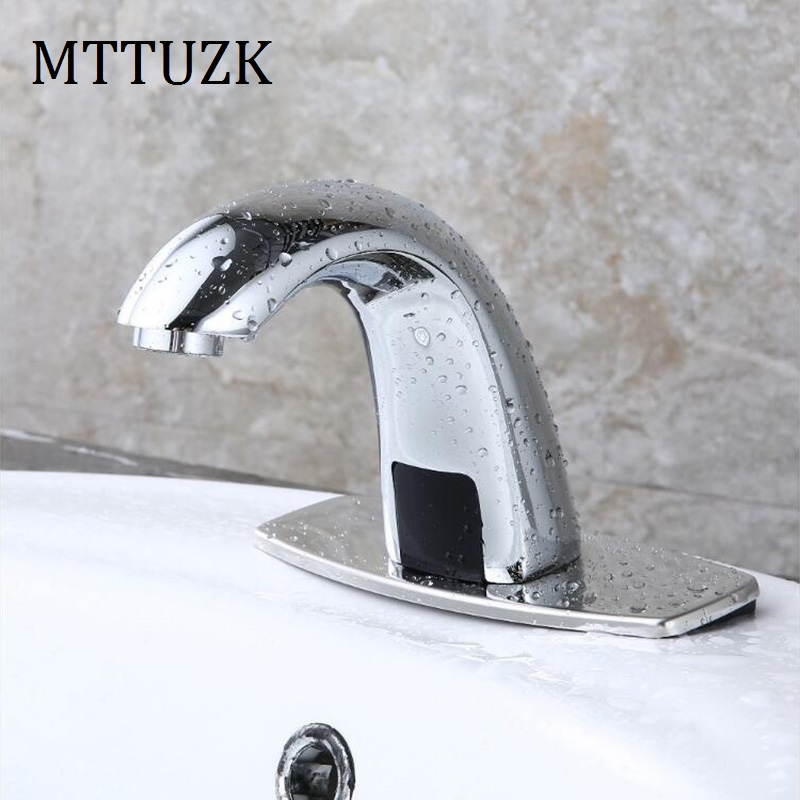MTTUZK Brass Bathroom Automatic Touch Free Sensor Faucets Water Saving Basin Sensor Tap Hot and Cold Mixer DC6V&AC220V Torneira