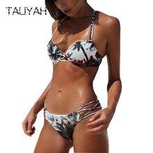 New Brazilian gather bikini set print swimwear sexy low waist women's swimsuits halter bikini back cross beach wear 2019 low back macrame swimwear