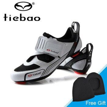 Tiebao nuevos hombres Zapatos de bicicleta de carretera antideslizantes transpirables Zapatos de ciclismo triatlético calzado deportivo Zapatos bicicleta