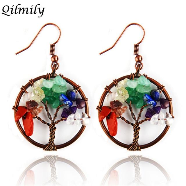 a7f9f388998a Qilmily 7 Chakra Piedra Natural Árbol de la vida pendientes de cristal para  las mujeres Boho