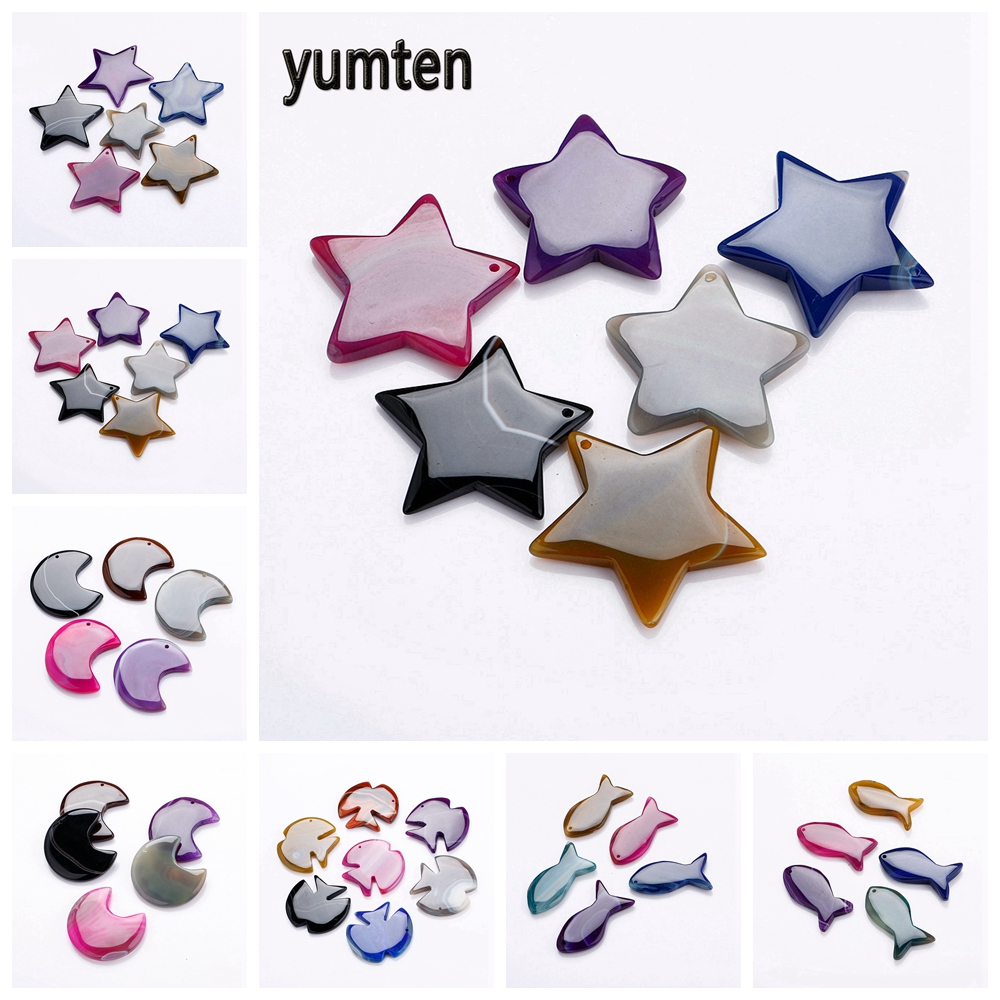 Yumten Star Pendant DIY Stone Necklace Statement Gem Accessories Fashion Crystal Jewelry Personalized Gift Semi Precious Stones in Pendants from Jewelry Accessories