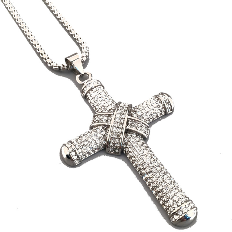 Light Gold Color Rhinestone Iced Out Knot Charm Jesus Cross Big Pendant  Bling Bling Necklaces Men s Hip Hop Jewelry-in Pendant Necklaces from  Jewelry ... 880787979ce4