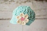 Toddler Girls Hat Girl Newsboy Cap Girl Visor Hat Blue Cream Coloured Flower Great For Photo