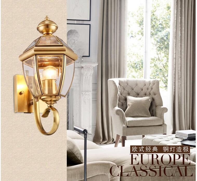 Indoor Antique Brass Wall Lamp Outdoor LED Design Glass Wall Sconce D24cm Brass color Wall Lighting Lamp Wall Brackets Lighting antique brass wall lamp 100