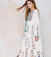 Palenda 2017 nieuwe borduren bohemian katoenen jurk losse patroon leisure grote bloemen witte paarse kleur dame