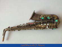 Eb Alto Saxophone Red Antique Body and Yellow Antique Keys High F# With-Black Pearl Buttons