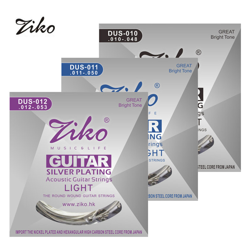 Ziko Acoustic Guitar Strings Set 010 011 012 Silver Plating 6 Strings For Acoustic Guitar Parts Musical Instruments amola acoustic guitar strings set 010 012 011 pure copper steel 010 047 acoustic wound guitar 1 6th string musical instruments