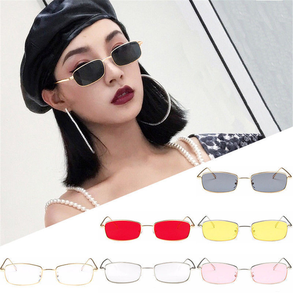 Vintage Glasses Women Man Square Shades Small Rectangular Frame Sunglasses gafas oculos des lunettes For Female #15 ...