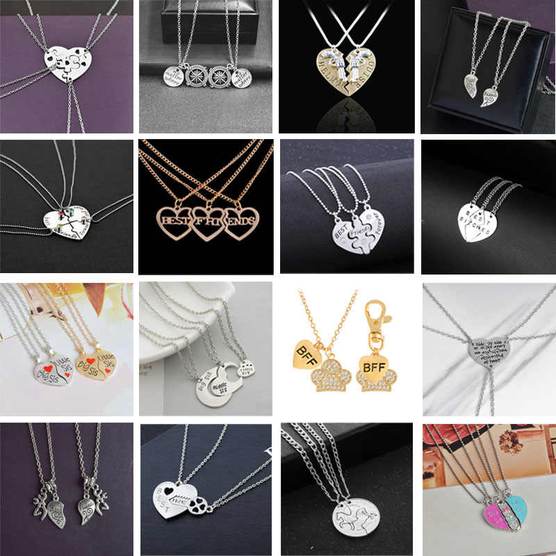 2018 Fashion Hot Best Friends Necklace BFF Set Pendant Alloy Creative Birthday Gift Friend Heart