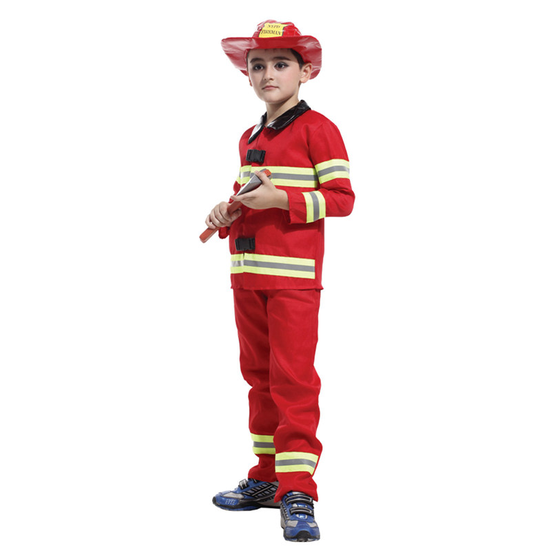 Halloween fireman kids costumes  children cost Carnival Purim Party fancy dress fireman boys child Cosplay stage clothes